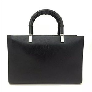 GUCCI Bamboo Handle Black Leather Tote Hand Bag